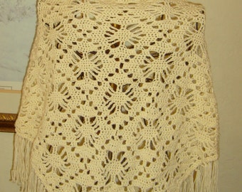 Crocheted shawl fringe/spider web stitch motif/cream shawl /ivory shawl/dressy wrap or casual wear/BOHO bridal shawl fringe/gift FOR women