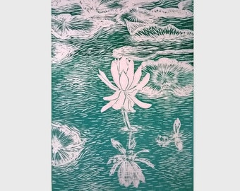 Water lily, Linocut print, Original hand pulled print, Teal wall art, unique wedding gift, lino print relief, Art for sale, New Forest