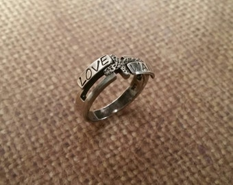 CROSS ring w/2 NAMES or words in sterling silver-soldered as one larger ring