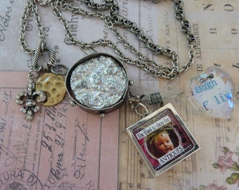 Sale! Found Objects Necklace, Antique Shopping & Fairy and Industrial Chic Laugh Live Heart, Sparkle Disk+Rhinestone Fleur-de-Lis+Brass Disk