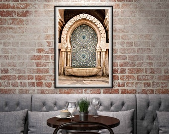 Photography + Black Frame - Moroccan Fountain - Hassan II Mosque - Casablanca - Morocco