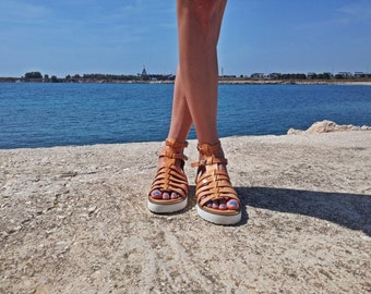 Strappy Ancient Greek Sandals - Platform Gladiator Sandals - Flatforms. Natural Brown Leather - White Platforms. Handmade in Greece.