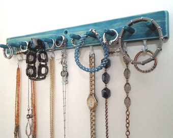Jewelry Organizer, Jewelry Holder Wall Necklace Holder, Earring Holder, Ring Holder, Necklace Hanger, Bracelet Holder. Pick Your Color.