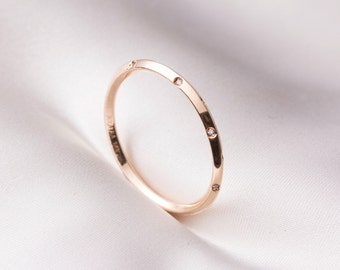 Skinny pointed top gold ring in handmade, thin stackable ring, 14k solid gold ring, 14 k rose gold ring, anniversary gift, free shipping