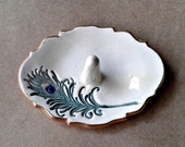 Ceramic Feather Ring Holder 3 1/4 inches long
