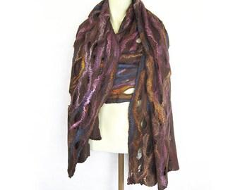 Felted Scarf, Felt Wool Silk Scarf, Felt Shawl, Spring Scarf, Brown Pink Scarf, Spring Wrap, Lacy Shawl, Extra Long Scarf, Lacy Scarf Wrap