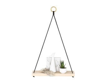 NIVIS | Small Modern Hanging Shelf | A frame wood shelf