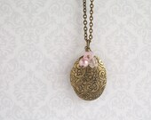 Oval Victorian Locket Pink Charm Necklace Antique Gold Brass Pendant Vintage Style Jewelry