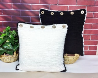 Crochet Throw Pillow Covers Black White Reversible Square Shams Wood Buttons Set of 2 Handmade, Knitted Pillow Cover