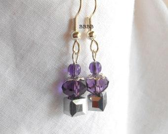 Cupcake Earrings Crystal Earrings Purple Earrings Bright Silver Earrings Silver Plated Surgical Steel Earrings