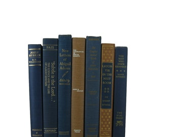 Vintage  Blue Earth-tone Decorative Books ,  vintage books , old books , vintage book bundle , photo prop , wedding decor , vintage book set