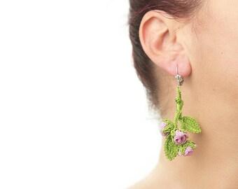 Earrings-Bohemian Handmade Crochet Dangle Cute Pink Rose Bouquet Earrings, Nature Flower Floral Earrings, Textile Jewelry, Valentine's Day