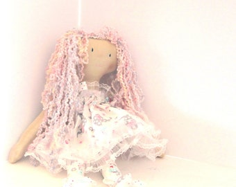Handmade in USA, Fancy cloth doll, pastel  doll, , large handmade doll, fabric doll,handmade doll, gift for her