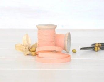 "Peach Cotton Ribbon - 5, 20 or 109 Yards - 100% Cotton Ribbon - 1/4"" wide - Peach Trim - Eco Friendly Trim - Peach Ribbon - Ribbons Bulk"
