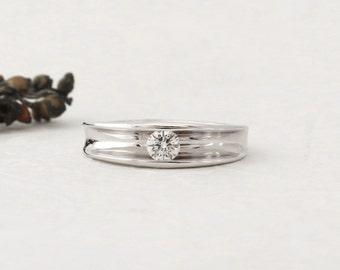 Unique diamond engagement ring - Diamond engagement ring, Modern Minimal Unique Engagement Ring, Solitaire Ring, 14k Solid Gold diamond ring