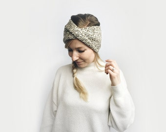 Knit Turban Twist Headband, Earwarmer // Wool Tweed  // Oak