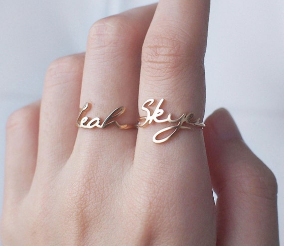 20 off custom name ring personalized name by. Black Bedroom Furniture Sets. Home Design Ideas