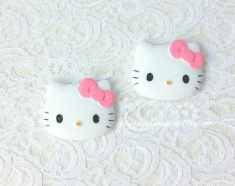Large Hello Kitty Face Head Pink Bow Cabochon Resin Flatback Scrapbook Supplies - 2 PCS - 45mm