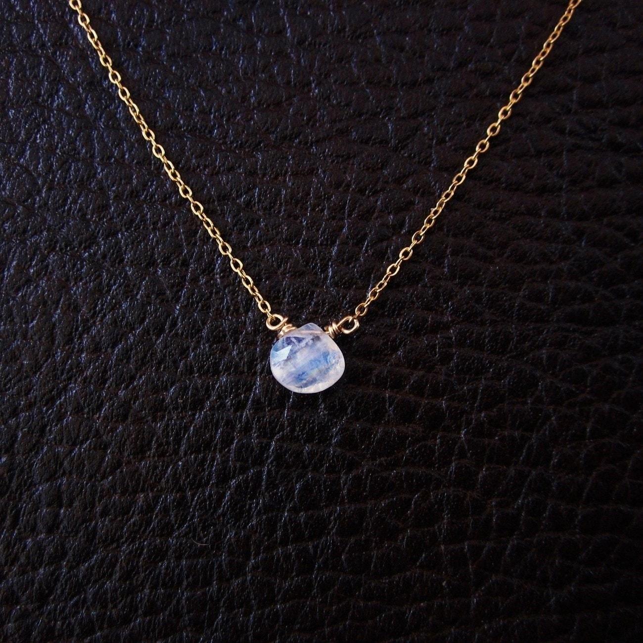 Moonstone Necklace Moonstone Pendant Charm Necklace