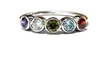 Gold Family Ring-14K Gold Birthstone Ring-Mothers Ring-Personalized Family Ring-Gold Mothers Ring