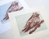 Lovely Swallow Bird Woodcut - Hand carved, Hand printed - Original Woodcut Relief Print, Limited Edition of 6 ONLY