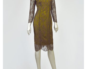25% OFF - Brown Lace Dress 90s Lace Party Dress Green Silk Dress 1990s Lace Cocktail Dress Bodycon 1950s Style Illusion Lace Wiggle Dress