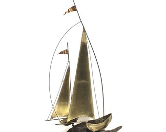 Vintage Nautical Brass Copper Hand Crafted Dual Sailboat Sculpture