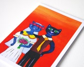 Funny cat Wedding Congratulations card Congratulations anniversary cards Wedding shower card cat Funny Wedding greeting card Engagement card