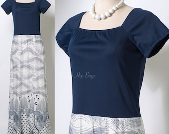 Vintage maxi dress, 60s Maxi Dress, Vintage Blue Dress, Mad Men dress, 60s Dress, Navy Blue Dress, Summer Maxi Dress - S/M