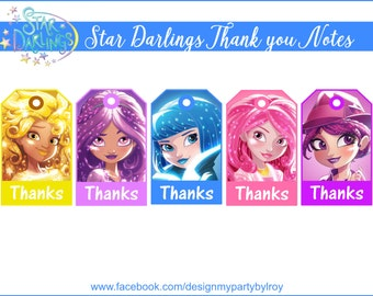 STAR DARLINGS, Thank you Notes, Star Darlings Party Favors, Star Darlings Party Supplies,Star Darlings Instant Download,Star Darlings Notes.
