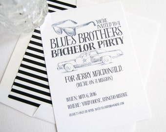Bachelor Party Invitations Blues Brothers Inspired , Birthday Party (set of 25 cards and white envelopes)