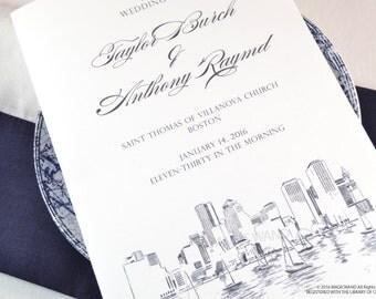 Boston Skyline Wedding Programs (set of 25 cards)