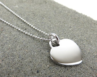 Personalised Silver Long Heart Necklace - Free Engraving