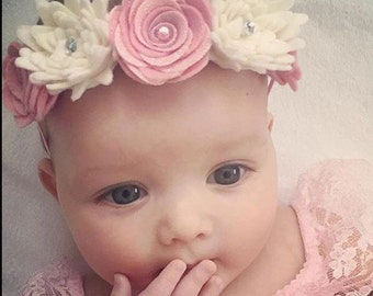 White & Pink Felt Rose and Spiky Flower Crown Stretch Headband for Baby/Girl in Sizes Newborn -Adult. Other colours available