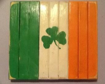Small Irish Handcrafted Wood Flag