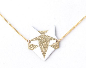 Origami Fox white and gold pendant