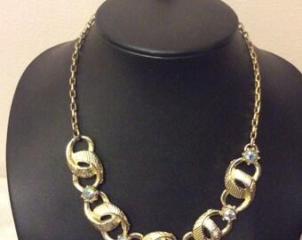 Vintage aurora borealis rhinestone 1960's necklace