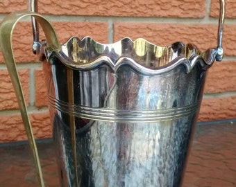 Vintage Silver Plate Ice Bucket with Brass Talon Tongs EPNS A1 Champagne