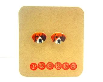 Beagle Stud Earrings, Beagle Jewelry, Dog Jewelry, Dog Earrings, Post Earrings, Beagle Gift, Dog Gift, Dog Breed, Dog Lover