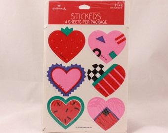 Vintage 1989 Hallmark Valentine Heart Sealed Sticker Package. 4 Sheets