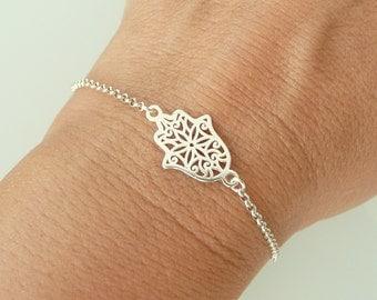 Hamsa Bracelet in Sterling Silver, Hand of Fatima Bracelet, Gold Hamsa Bracelet, Thin Chain Bracelet, 925 Sterling Silver Jewelry