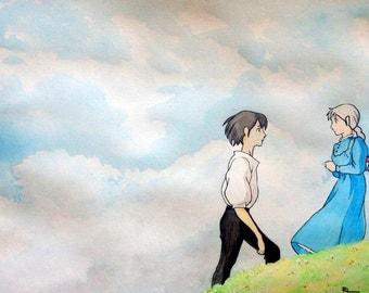 Howl and Sophie: Howls Moving Castle Watercolour Print