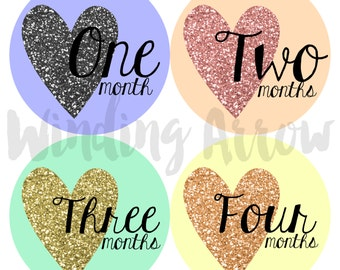 Baby Month Milestone Sticker Baby Girl Monthly Stickers Baby Shower Gift First Year Belly Stickers 12 Months Glitter Hearts Monthly Baby
