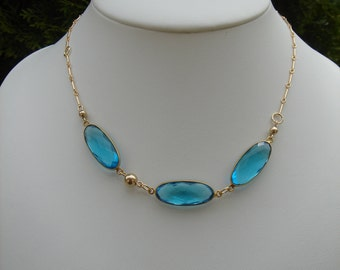 Gold chain with Topaz, 585 goldfilled-chain with magnificent hydro blue Topas