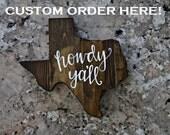 Custom Wooden Texas Wall Art