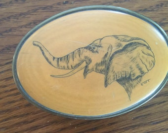Vintage  Brass Belt Buckle with Elephant
