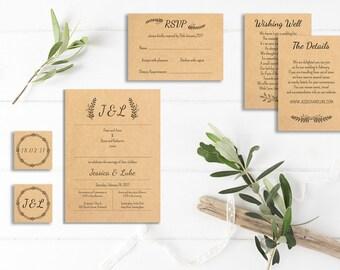 Invitation Package Rustic Leaf Design Kit, Printable, Wedding Invite, RSVP,  Wishing Well