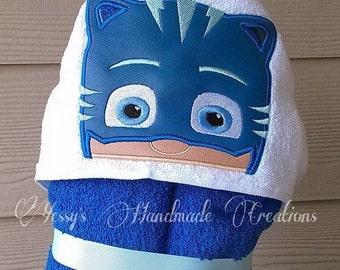 Catboy inspired hooded towel. Pj masks cat boy