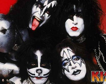 Kiss Band Gene Simmons, Paul Stanley, Ace Frehley, and Peter Criss Rare Poster