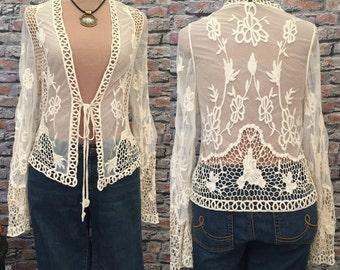 Vintage Crochet And Openwork Cardigan  Size medium